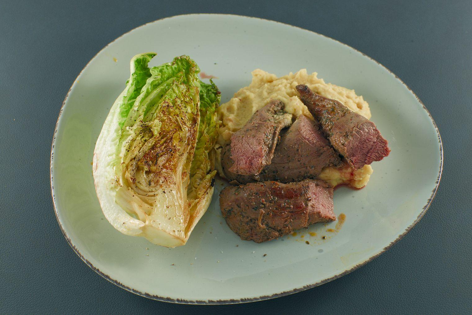 Lammfilet | Hummus-Kartoffelpüree | Salatherzen
