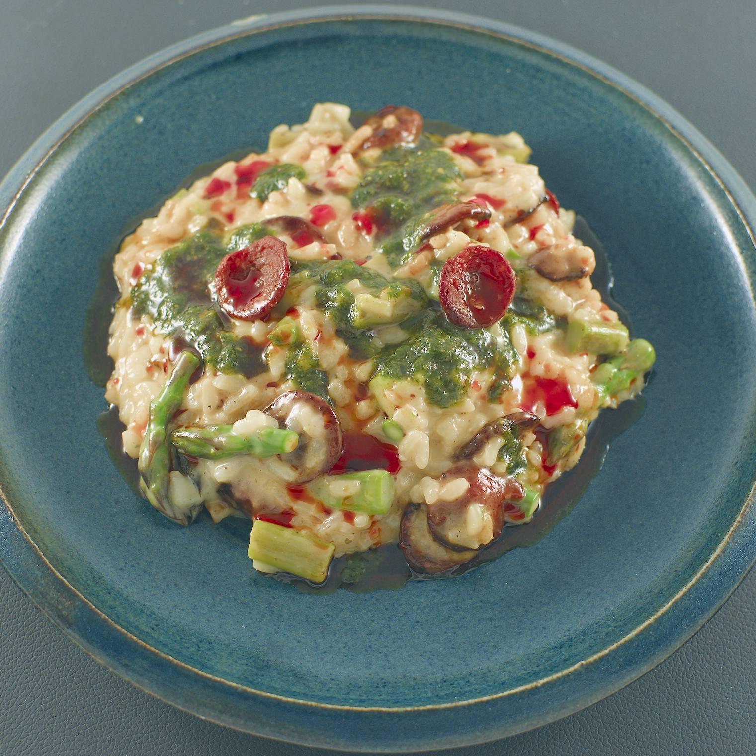 Risotto | grüner Spargel | Bärlauch-Pesto | Chorizo