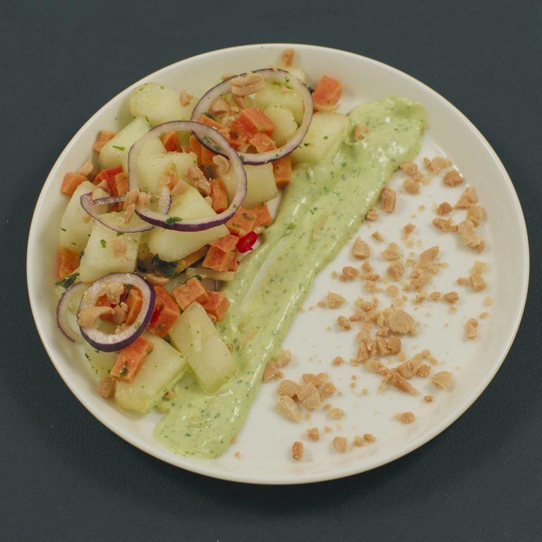 Süßkartoffel-Melone-Salat | Ceviche-Dressing | Avocado-Limetten-Mayonnaise