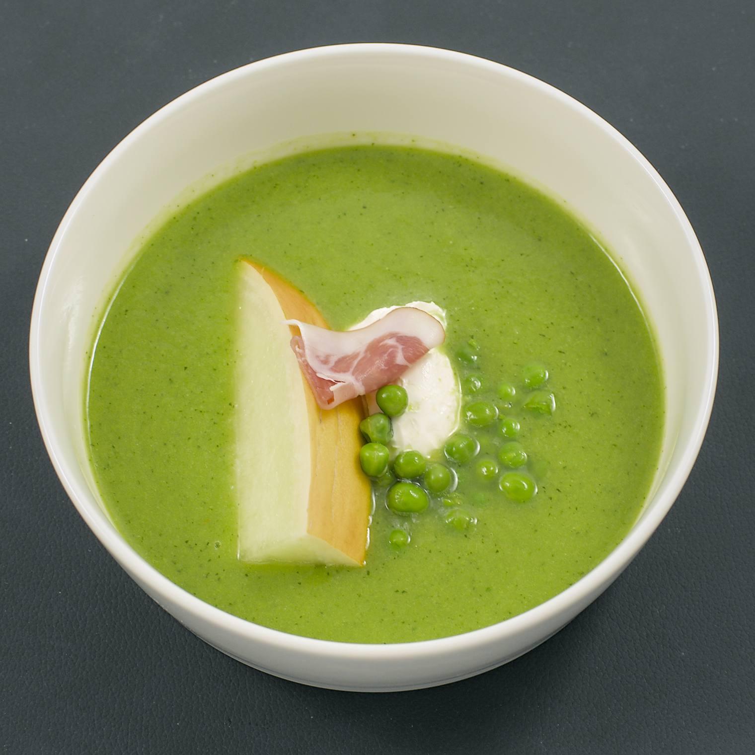 Erbsen-Melonen-Suppe