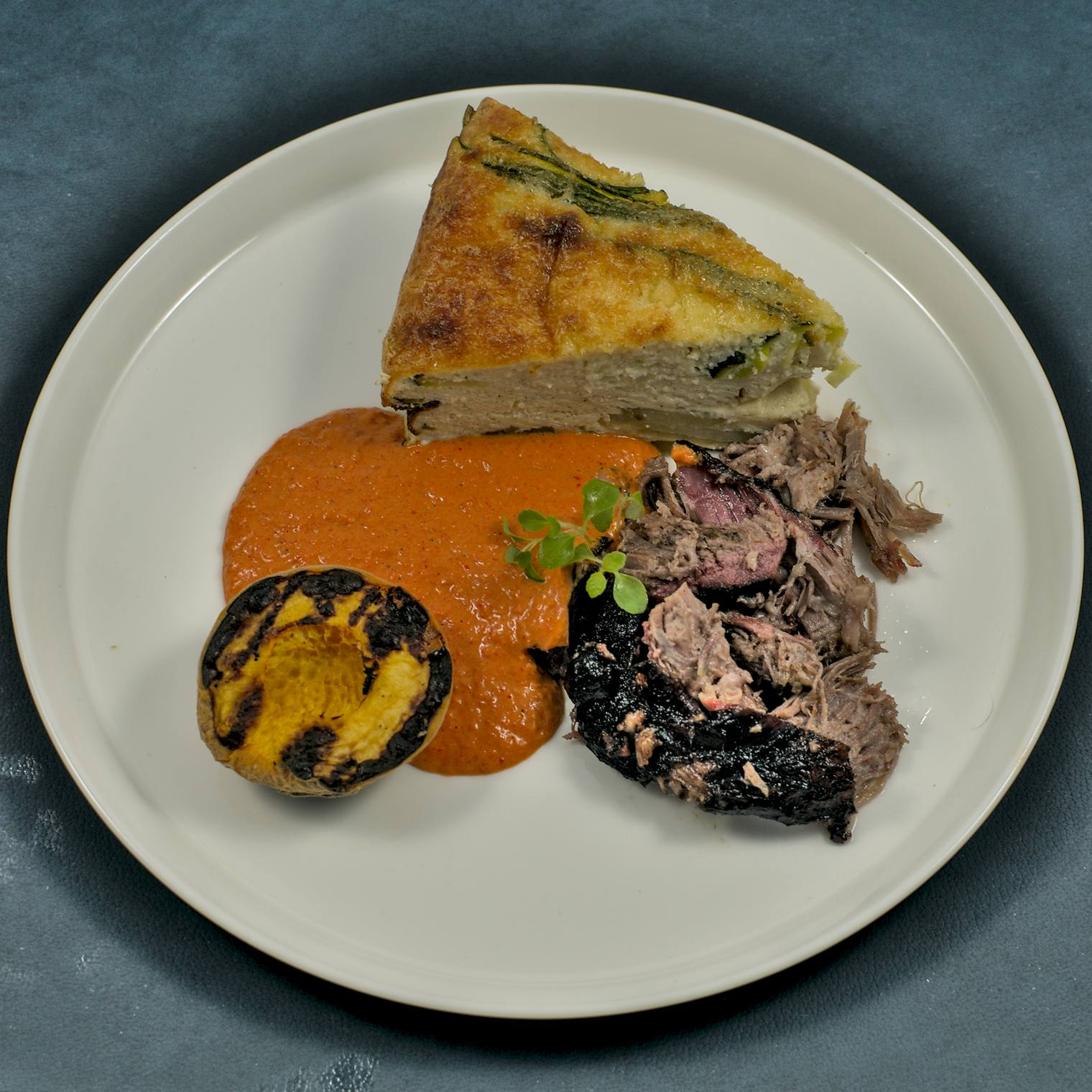 Iberico-Presa | Tortilla | Paprikadressing | Aprikose | BBQ